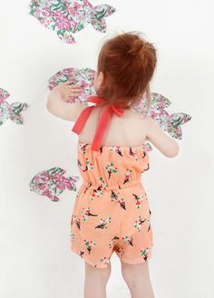 retro baby girl sleveless orange floral jumpsuit from vindie baby