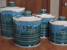 Reserved for Sara Pottery Ceramic Canister Sets Custom Personalized Made to…