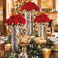 Silver, Gold and Red Roses! Gorgeous Holiday Display!