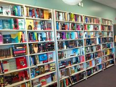 This High School teacher sets up bookshelves to look like the book store. Now that is attractive.