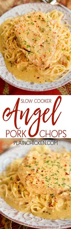 Slow Cooker Angel Pork Chops - THE BEST pork chops EVER! Everyone cleaned their plate!!! SO tender and full of flavor. Pork chops, Italian dressing mix, cream cheese, butter, cream of chicken soup and white wine/chicken broth. Serve over angel hair pasta. Make sure to spoon the sauce out of the slow cooker - it is SO good!!! White Wine Chicken, Cream Of Chicken Soup, Italian Dressing Mix, Angel Hair, Pork Chops, Plate, Slow Cooker, Spaghetti, Crockpot