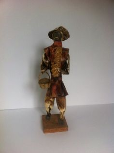 Vintage Paper Figurine Old man Mexican Folk Art by LoreNovedades