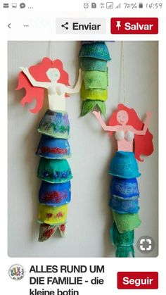 Handicrafts with children Mermaid decoration made of egg carton ›the little messenger - Kinder basteln - Kids Crafts, Summer Crafts, Toddler Crafts, Preschool Crafts, Projects For Kids, Diy For Kids, Diy And Crafts, Paper Crafts, Diy Projects