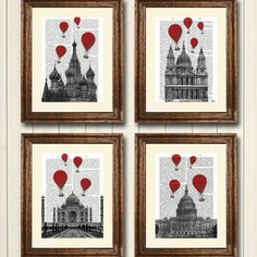 Printed onto genuine antique dictionary pages  A beautiful set of four dictionary prints which includes images of St Basils Cathedral in Russia, the Taj Mahal in India, St Pauls Cathedral in London and the Capitol Building, USA.