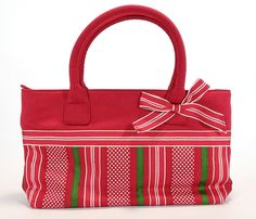 Talbots Pretty Red Bow Purse, Christmas / Valentine's Day? Stripes & Polka-Dots #Talbots #Festive  http://stores.ebay.com/theanothercorner/