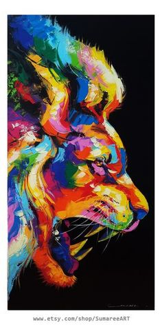 Draw Lions Lion painting, beautiful artwork by SumareeART Colorful Paintings, Animal Paintings, Animal Drawings, Colorful Artwork, Lion Painting, Painting Canvas, Painting Abstract, Tableau Pop Art, Acrilic Paintings