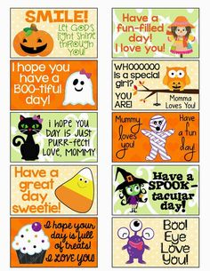 FREE Halloween Lunch Box Notes | MySunWillShine.com posted by Christian: