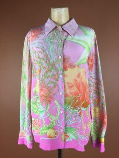 a9f77728cb06d ESCADA LAURÈL Silk Blouse 1990 s Italian Designer Light Rose Green Coral  Seashell Print Small S-M Su
