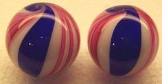 PEPPERMINT-CANDY-CANE-amp-COBALT-BLUE-SWIRL-1-3-8-034-amp-1-5-16-034-ART-GLASS-MARBLES