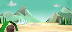 Low poly landscape. Evergreen trees