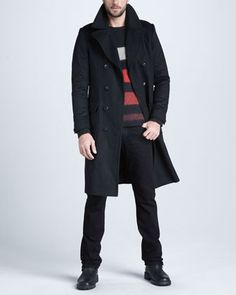 Wool Great Coat, Bedford Crewneck Sweater & Black Resin-Treated Jeans by Rag & Bone at Neiman Marcus.