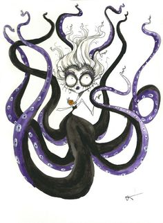 The Little Mermaid Ursula Tim Burton Style Arte Tim Burton, Tim Burton Art Style, Tim Burton Artwork, Tim Burton Stil, Tim Burton Kunst, Tim Burton Drawings Style, Disney Villains Art, Art Disney, Disney Kunst