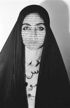 Shirin Neshat, Unveiling, 1993, from the series Women of Allah. Gelatin silver print and ink, 59 3/4 × 39 3/4 in. (151.8 × 101 cm). Whitney Museum of American Art, New York