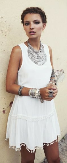 Fashion trends White boho dress with braid crown and oversized silver  accessories 322d74d84