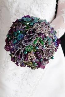 "Royal Purple Wedding brooch bouquet. ""Deep Purple Fusion"" rhinestone Amethyst wedding bouquet. Jewelry Bridal broach bouquet, Ruby Blooms"
