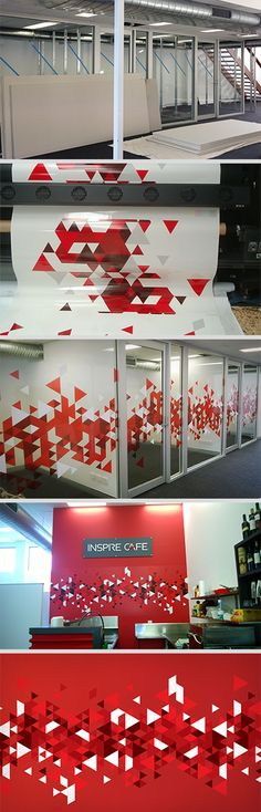 Environmental graphics by CreativLi.com.au Using one of the most basic geometric shapes – a triangle, which also echoes the shape of the red tick within the Inspire Café logo, through repetition and multiplying we created a seemingly random yet fascinating pattern. This pattern symbolises growth and the sprinkles that turn an ordinary cup of coffee into an inspiring one.
