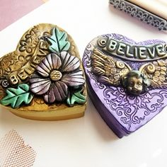 This is a 2 part tutorial, how to change paper mache boxes in to beautiful gift boxes. Uses paper mache heart boxes and polymer clay