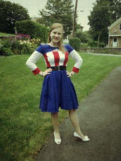 1940s style female Captain America cosplay Boston Comic Con 2013