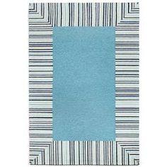 Pin Stripe Bdr Blue Indoor-Outdoor Rug