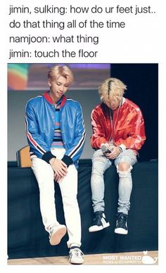 Awww mini Jimin  but also Jimin is fully sitting on the table, Namjoon is kinda leaning against it. Still funny though