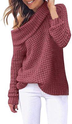 3dae6e566 Toamen Womens Sweater Tops Jumper Pullover Turtleneck Knitting Long Sleeve  Cold Shoulder Casual Sweatshirt Tunic T-Shirt Blouse(Navy