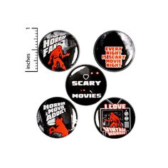 Vintage Horror Movies Buttons or Fridge Magnets 5 Pack of | Etsy Funny Buttons, Cool Buttons, Work Jokes, Work Humor, Scary Movies, Horror Movies, Work Gifts, 31 Days Of Halloween, Halloween Party