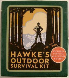 Hawke Outdoor Survival Kit Multi Tool Book Mega Mini Kits Compass Light Whistle