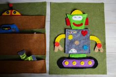 This is another page inspired by Jake. He loves robots!On the left is the robot body shop where all of the parts are stored, on the right is the space to build your robot. She made 3 heads, 2 pairs of arms, 2 pairs of legs, and 2 bodies.