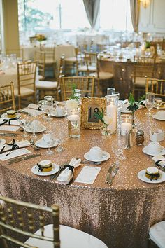 Sequin tablecloths are a quick and affordable upgrade from your average linens to give your reception a luxe look on a budget. Their shimmer and glimmer is both glam and chic.