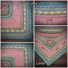 used Vinnis Nikkim (a South African yarn) in colours: Ballet pink, Peach, Pale Sage, White, Baby Yellow, Mint, Pink, Purple Pink, Willow Green, Turqouise and Washed Denim, K