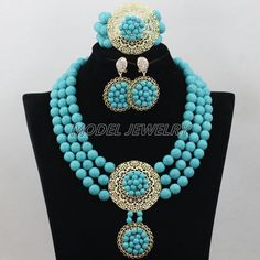 Newest Turquoise Beads Jewelry Set,African Nigerian Traditional Wedding Jewelry