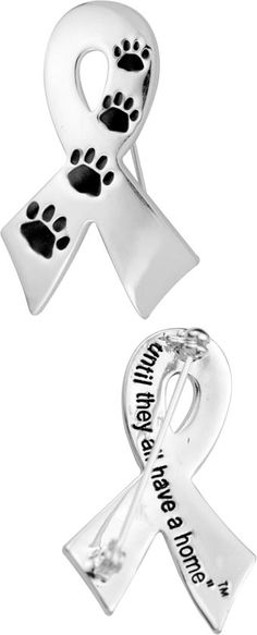 Ribbon pin for shelter animals.  Each pin purchased provides 14 bowls of food for rescued animals in sanctuaries and shelters, at no additional cost to you. That's above and beyond the good you do by buying it here!s