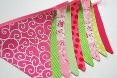 Pink Green Summer Birthday Banner Watermelon by BlueMoonStudios