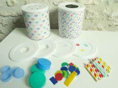 jeu à fabriquer bébé 12-18 mois boite à forme en boite de lait Montessori