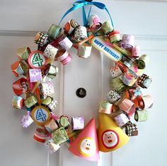 Birthday blower/party hat wreath...might even be cute for new years!