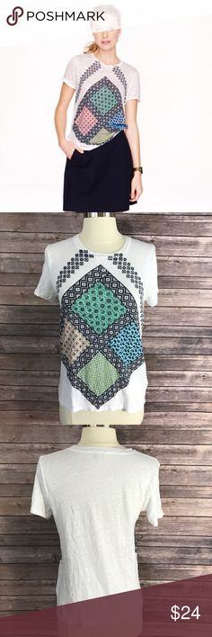 J Crew Size Small Top White Black Linen Scarf Tee Measurements: (in inches) -Underarm to underarm: 16 1/2 - Length: 22 1/2 Good, gently used condition J. Crew Tops Tees - Short Sleeve