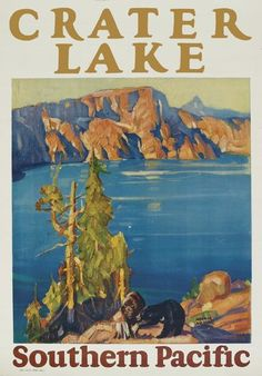 Southern Pacific poster by Maurice Logan National Park Posters, National Parks, Crater Lake Oregon, Train Posters, Crater Lake National Park, Train Art, Vintage Travel Posters, Poster Vintage, Sale Poster