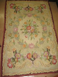 hooked rug - traditional, floral motif in pastels