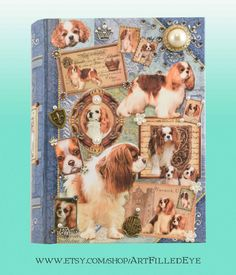 Embellished Decorative Blue Book Box Decoupaged w Blenheim Cavalier King Charles Spaniels-Jewelry-Keepsake-Mixed Media Art-Safe-Memorial Box by ArtFilledEye on Etsy