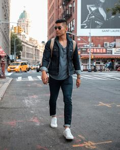 """1,763 Likes, 43 Comments - LEO CHAN 📍 NYC (@levitatestyle) on Instagram: """"What to wear today: Casual Friday in double denim 👖👟😎 #FallStyle - #LevitateStyle"""""""