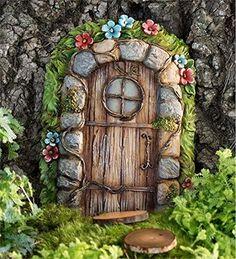 Miniature Fairy Garden Stone Door Tree Accent