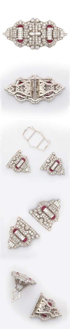 [Always wondered how these worked] This clever piece from Tiffany can serve as a brooch or as a pair of matching clips. As an Art Deco fashion statement, it was a perfect accent for the square collars in fashion, but now can be worn as double lapel clips. The diamonds and rubies of this piece are set in platinum. Circa 1930