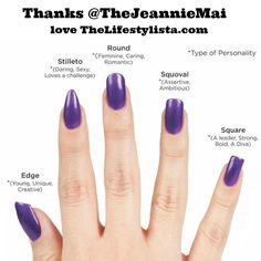 Want to know WHAT YOUR NAIL SHAPE SAYS ABOUT YOU? What's YOUR nail shape?  Mine is naturally squoval... A big thanks to @TheJeannieMai for this - love this girl :-) This picture is BRILLIANT!  Chec...