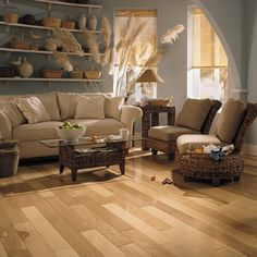 The hardest American wood, Blue Ridge Hickory hardwoods are a traditional look with dramatic color variation from plank to plank. Wood Flooring Options, Hardwood Floors, Mannington Flooring, Luxury Vinyl Tile Flooring, Hickory Wood, Blue Couches, Blue Ridge, Great Rooms, Plank