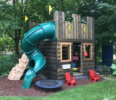 Fun Fortress Playhouse Plan castle play-set plan with spiral slide and dark stain Playground Design, Backyard Playground, Backyard For Kids, Backyard Projects, Backyard Ideas, Desert Backyard, Children Playground, Playground Ideas, Children Toys