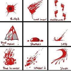 Blood Reference Sheet - How to draw bloody foot prints / stains / blood on a knife / smears / bullet wound - Drawing Reference Drawing Skills, Drawing Techniques, Drawing Tutorials, Drawing Tips, Drawing Reference, Art Tutorials, Drawing Ideas, Drawing Base, Manga Drawing