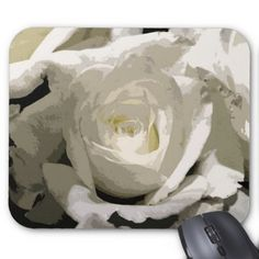 Abstract White Rose Mouse Pad -nature diy customize sprecial design