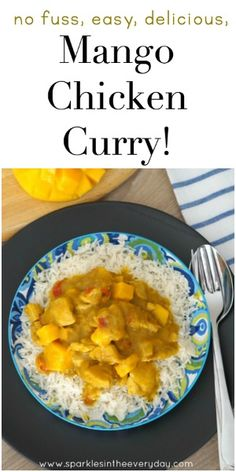 No fuss, easy, delicious Mango Chicken Curry! (Gluten Free Too! Curry Recipes, Meat Recipes, Wine Recipes, Indian Food Recipes, Chicken Recipes, Cooking Recipes, Healthy Recipes, Recipies, Mango Chicken Curry