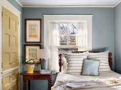 Lovely Home designs » Tremendous-Window-Trim-decorating-ideas-for-Exquisite-Bedroom-Traditional-design-ideas-with-bed-Bedroom-blue-walls-Brice-Gaillard-Stylist-Francis-Dzikowski-Photography-Gary-Brewer
