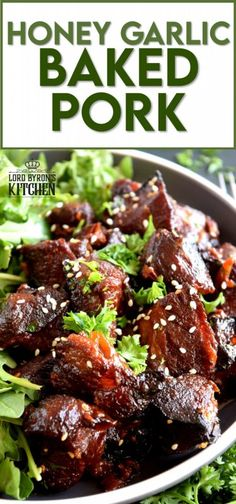 Moist and tender, with charred bits too, these Honey Garlic Baked Pork Bites are delicious and easy to prepare. Despite the long cooking time, this main is perfect for a family dinner anytime. Sweet and garlicky, with an optional kick of spice and heat. Yum! #pork #baked #bites #honey #garlic Pork Tenderloin Recipes, Pork Chop Recipes, Meat Recipes, Cooking Recipes, Healthy Recipes, Pork Recipes For Dinner, Fun Recipes, Delicious Dinner Recipes, Dinner Healthy